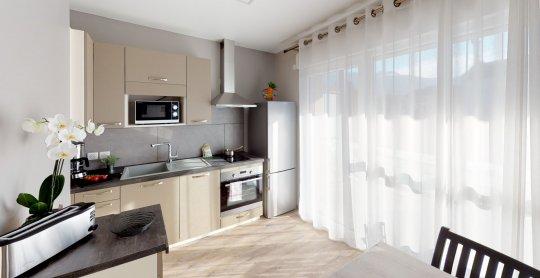 Studio de 37 m2 avec balcon 2 personnes Kitchen